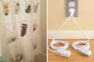 to the left: a shower curtain with pockets, to the right: an outlet with a cord split in two