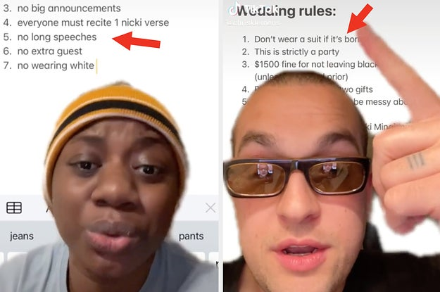 A list of hilarious wedding rules in two different TikToker users' videos