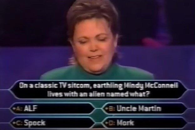 "Nancy Christy answering the question ""On a classic TV sitcom, earthling Mindy McConnell lives with an alien named what?"""