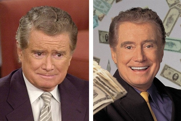 Regis looking upset and Regis looking happy surrounded by money