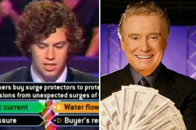 "Guy guessing on ""Who wants to be a millionaire"" and Regis holding cash"