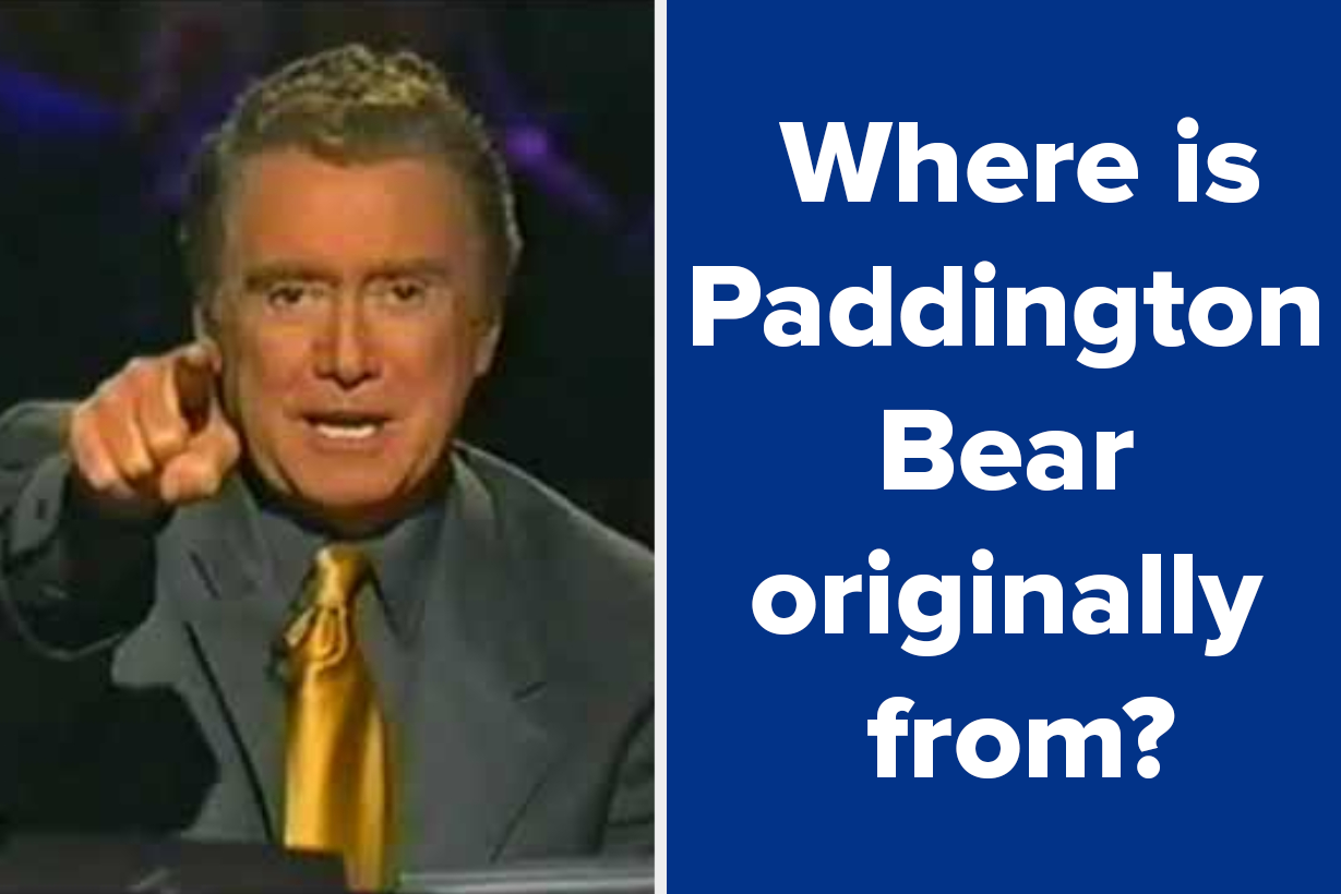 "Regis pointing with the question ""Where is Paddington Bear originally from?"""