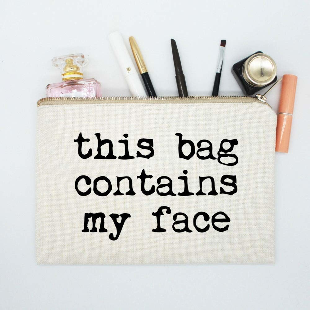 the off white makeup bag which says This Bag Contains My Face in large print