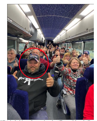 Aungst and others give two thumbs-up to the camera on the bus to Trump's rally