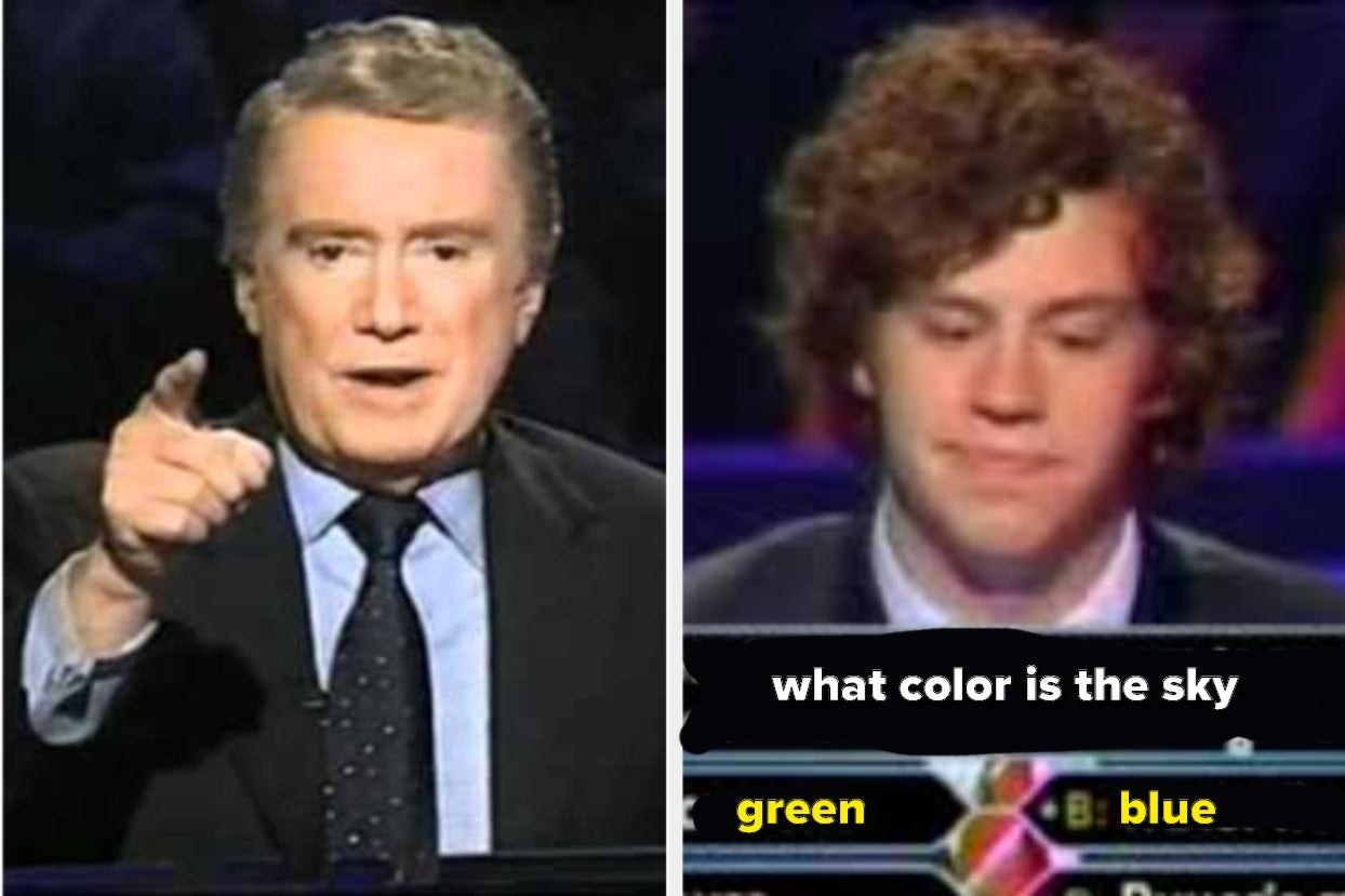 "Regis and contestant answering the fake question ""What color is the sky?"""