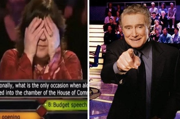 Embarrassed contestant and Regis pointing at you