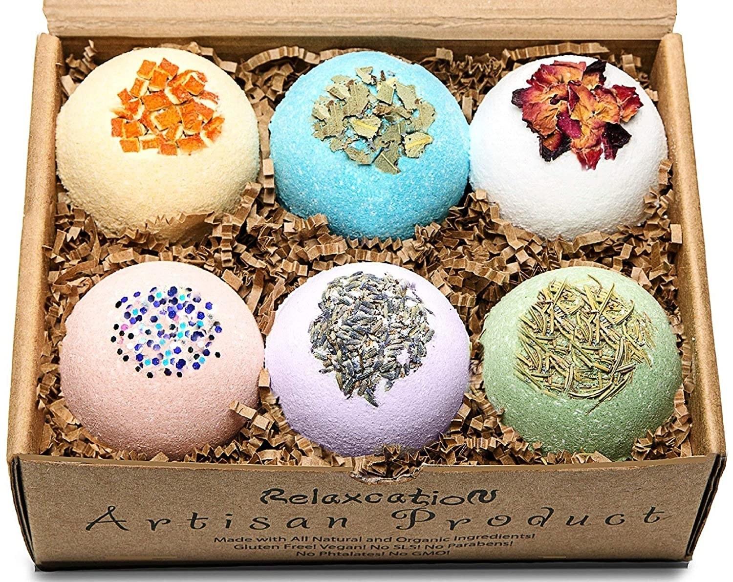 the box of pretty bath bombs