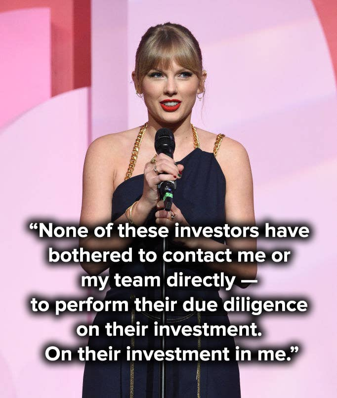"""None of these investors have bothered to contact me or my team directly — to perform their due diligence on their investment. On their investment in me"""