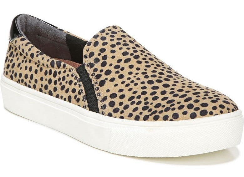 one tan and black spotted slip on sneaker