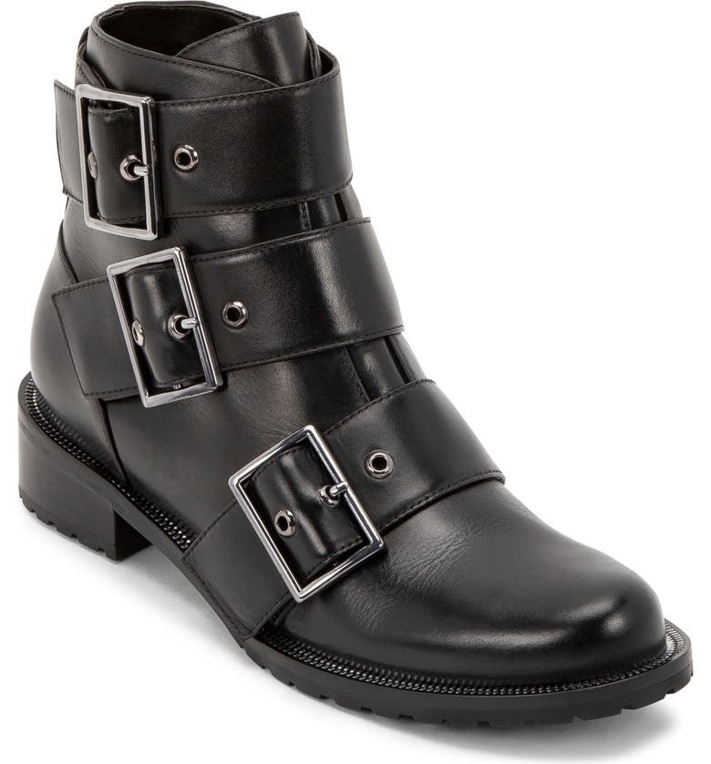 one black bootie with three buckles
