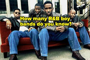 """Boyz II Men are sitting on a velvet sofa withe matching outfits and a caption: """" How many R&B boy bands do you know?"""""""