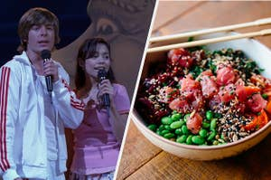 Troy and Gabriella are on the left with a bowl of poke on the right