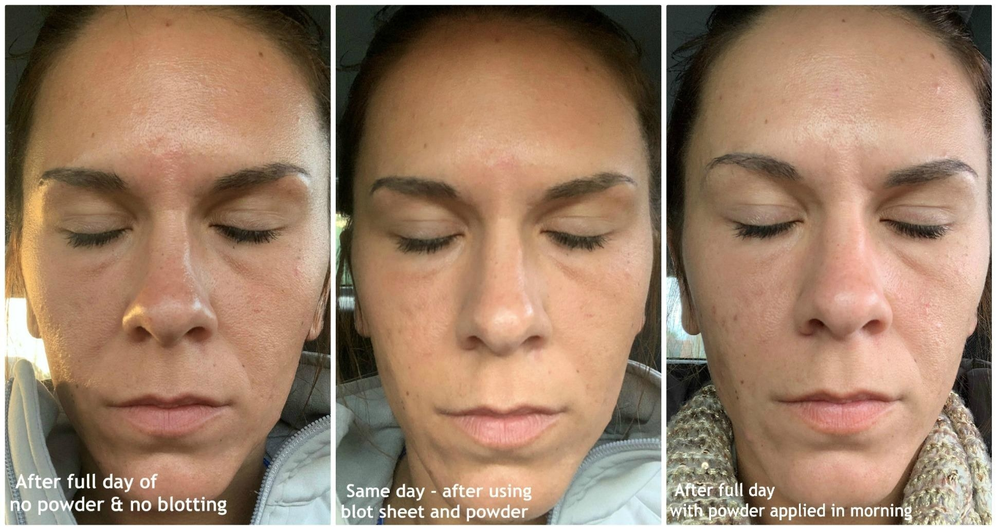 Reviewer progression photos showing that throughout the day their face stayed oil-free