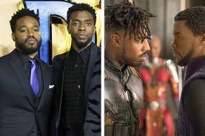 Side by side of Ryan Coogler and Chadwick Boseman at a