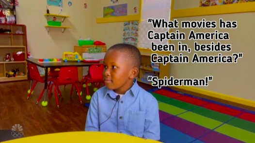 "A child being asked ""What movie has Captain America been in besides Captain America"" and answering, ""Spider-Man"""