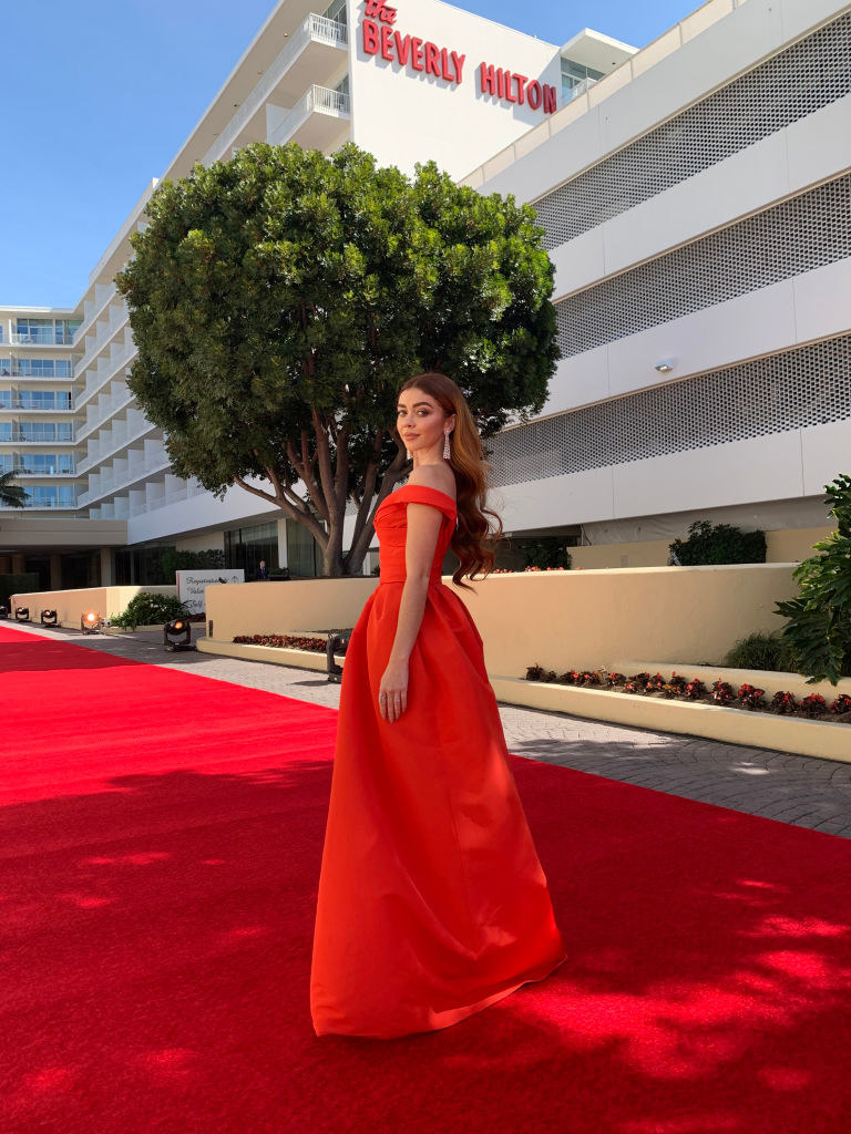 Sarah on the red carpet in front of The Beverly Hilton hotel