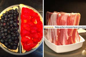 a split decision pie pan and a microwave bacon cooker
