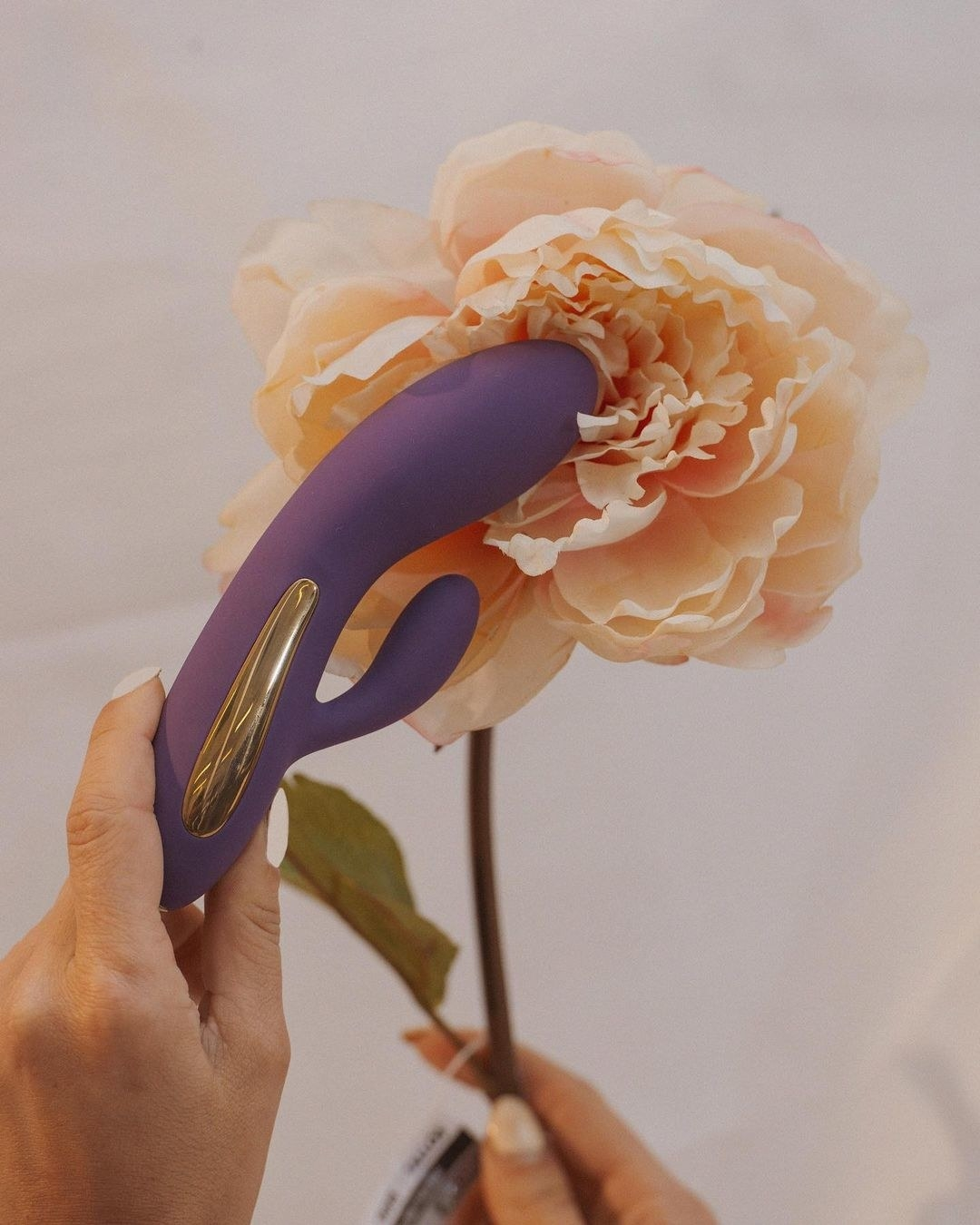 The vibrator, which has a larger curved fin for insertion, and a smaller fin for clit stimulation