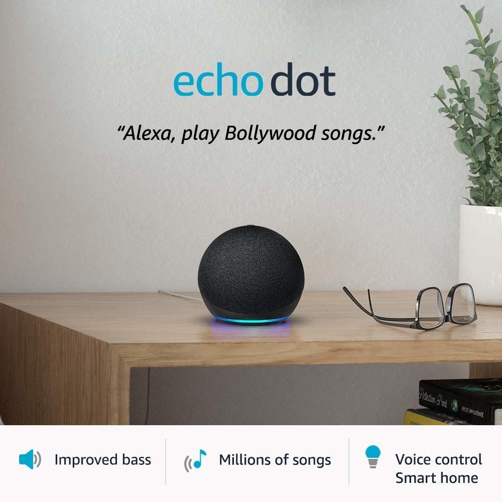 An Amazon Echo Dot on a table