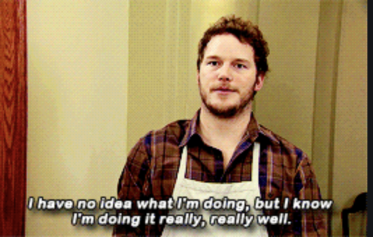 """Andy saying, """"I have no idea what I'm doing, but I know I'm doing it really, really well"""" on Parks and Recreation"""