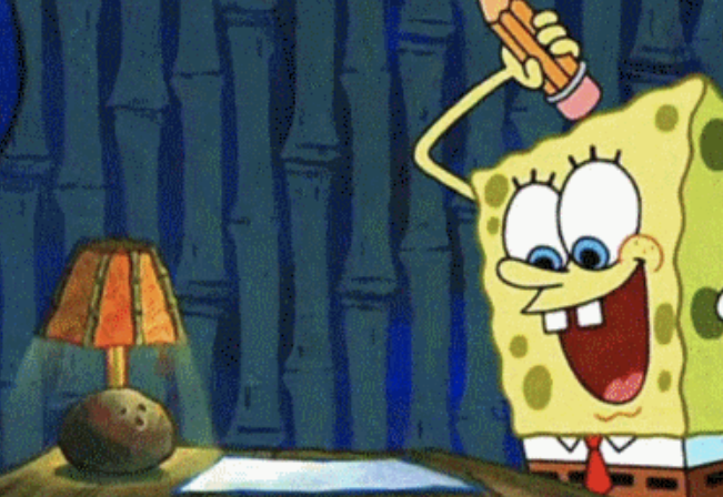 Spongebob about to write