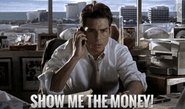 """Jerry shouting, """"Show me the money!"""" In Jerry Maguire"""