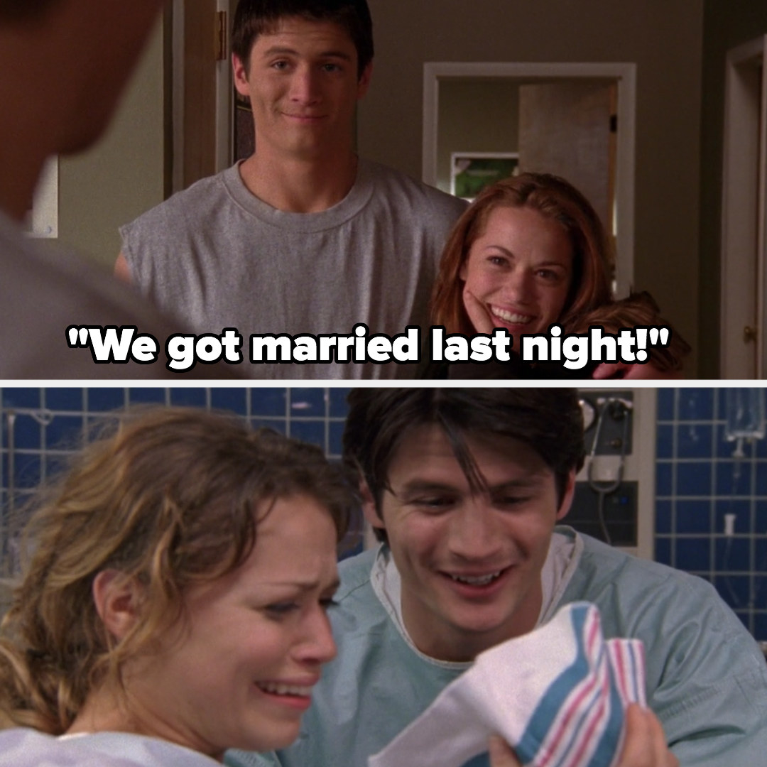 Nathan and Haley get married at the end of Season 1, Jamie is born in Season 4