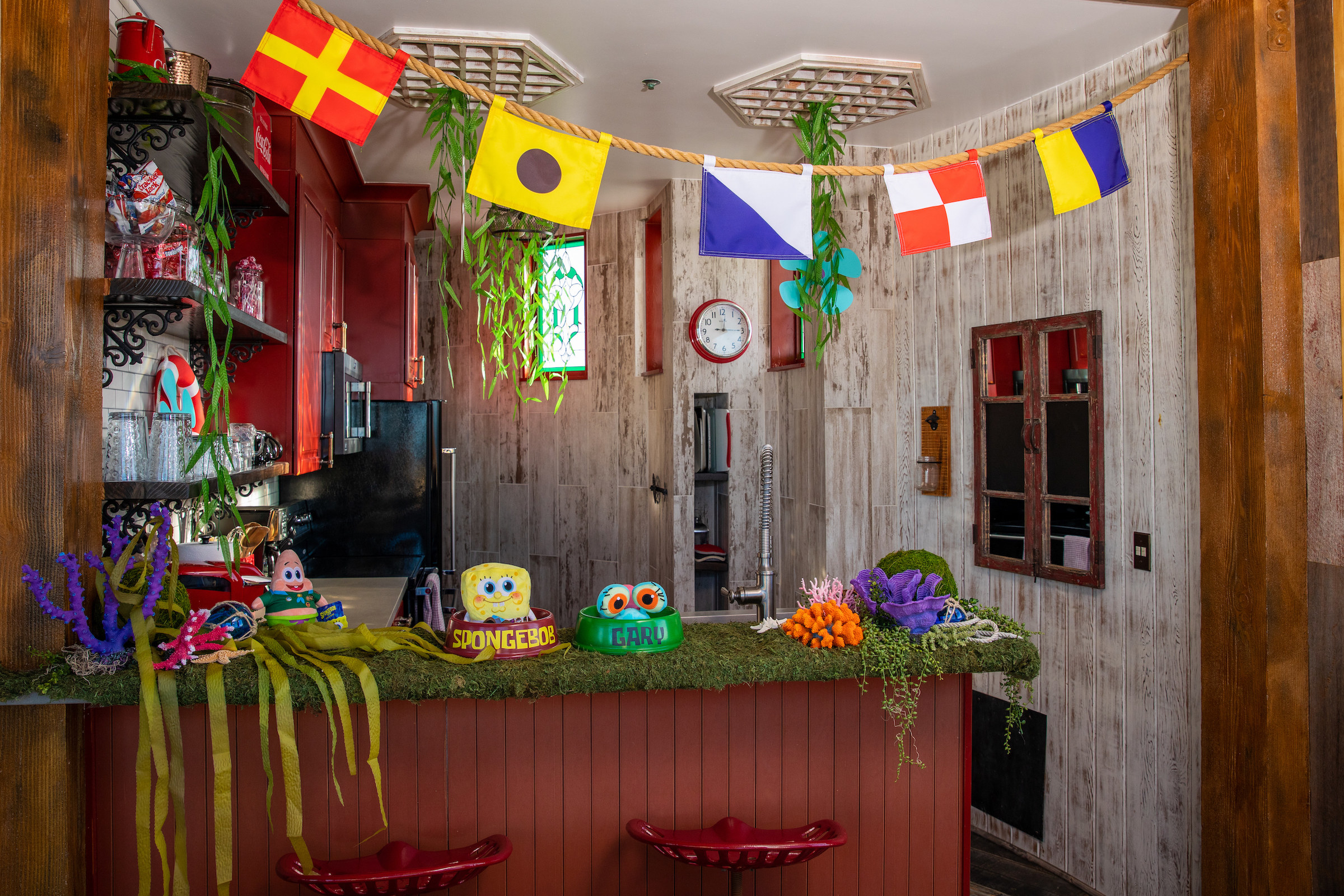 The kitchen which features nautical flags as seen at the Krusty Krab