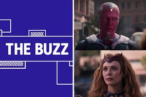 """Splitscreen of purple graphic with THE BUZZ in white letters on the left side and a photo of Wanda and Vision from """"WandaVision"""" right side (CREDIT: DISNEY+)"""