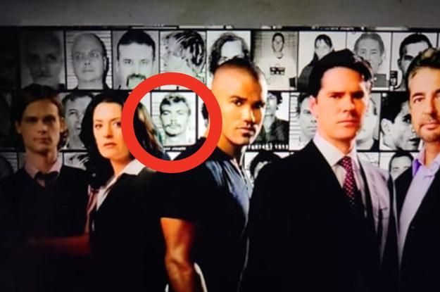 Criminal Minds intro screen grab with the mug shot of Jeffrey Dahmer circled