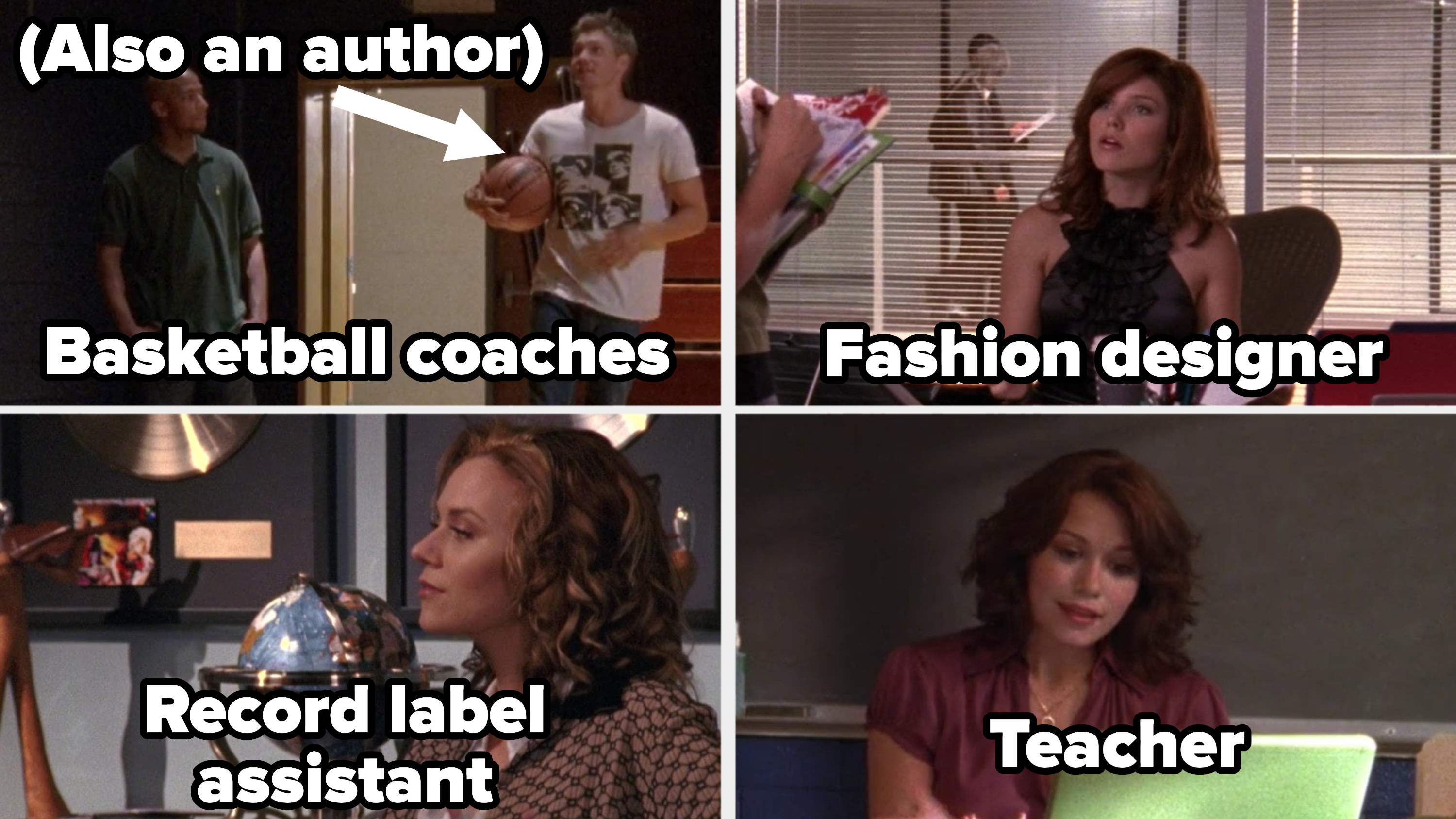 Skills and Lucas in the gym, labeled basketball coaches, Brooke labeled fashion designer, Peyton labeled music assistant, and Haley labeled teacher