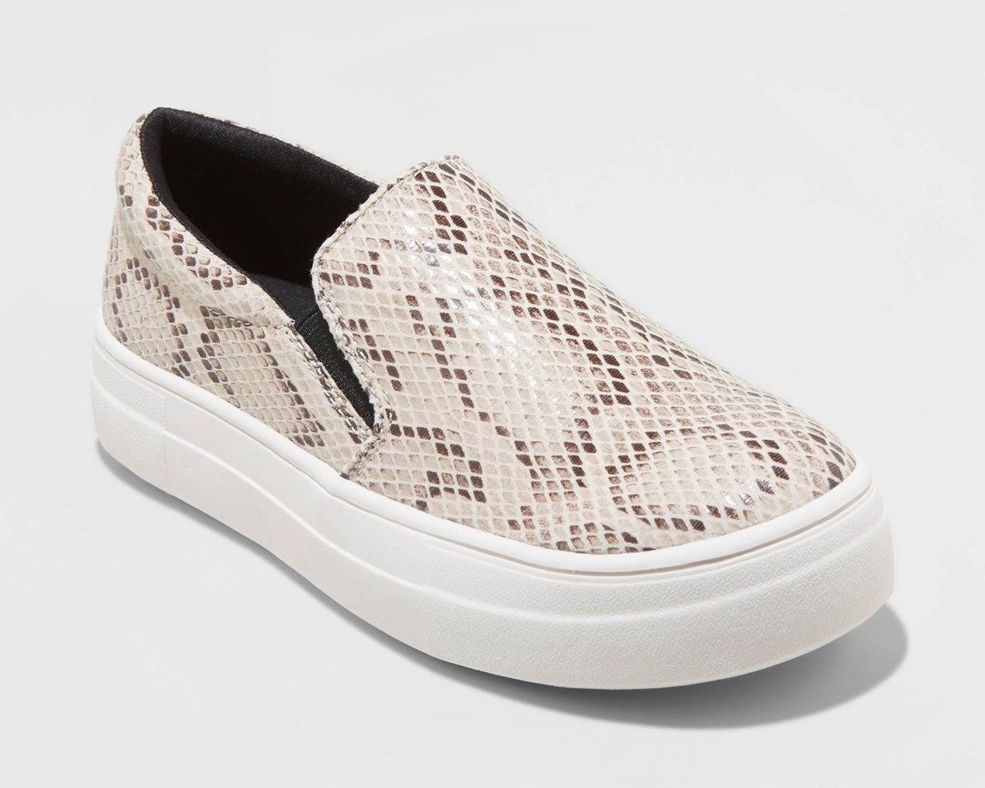 faux snakeskin sneakers