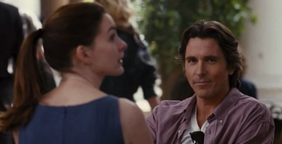"""The ending of """"The Dark Knight Rises"""" with Christian Bale at the restaurant in Italy"""