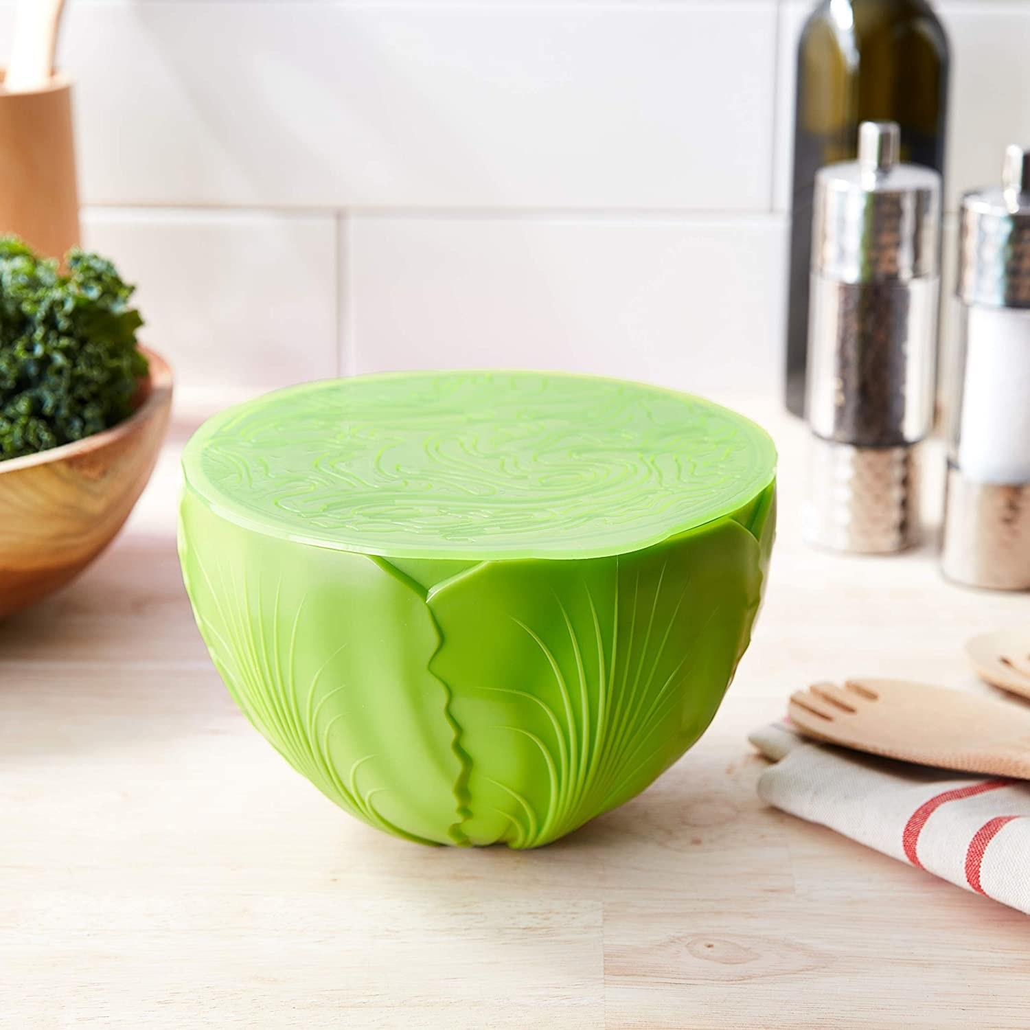 The salad saver on a kitchen counter