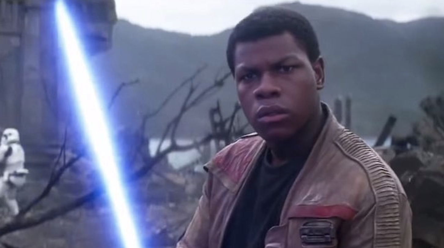 """Finn with a blue Lightsaber in """"Star Wars"""""""