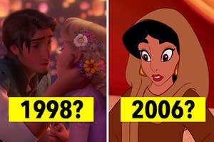 rapunzel and flynn rider on the left and 1998? under them and jasmine on the right with 2006? under her