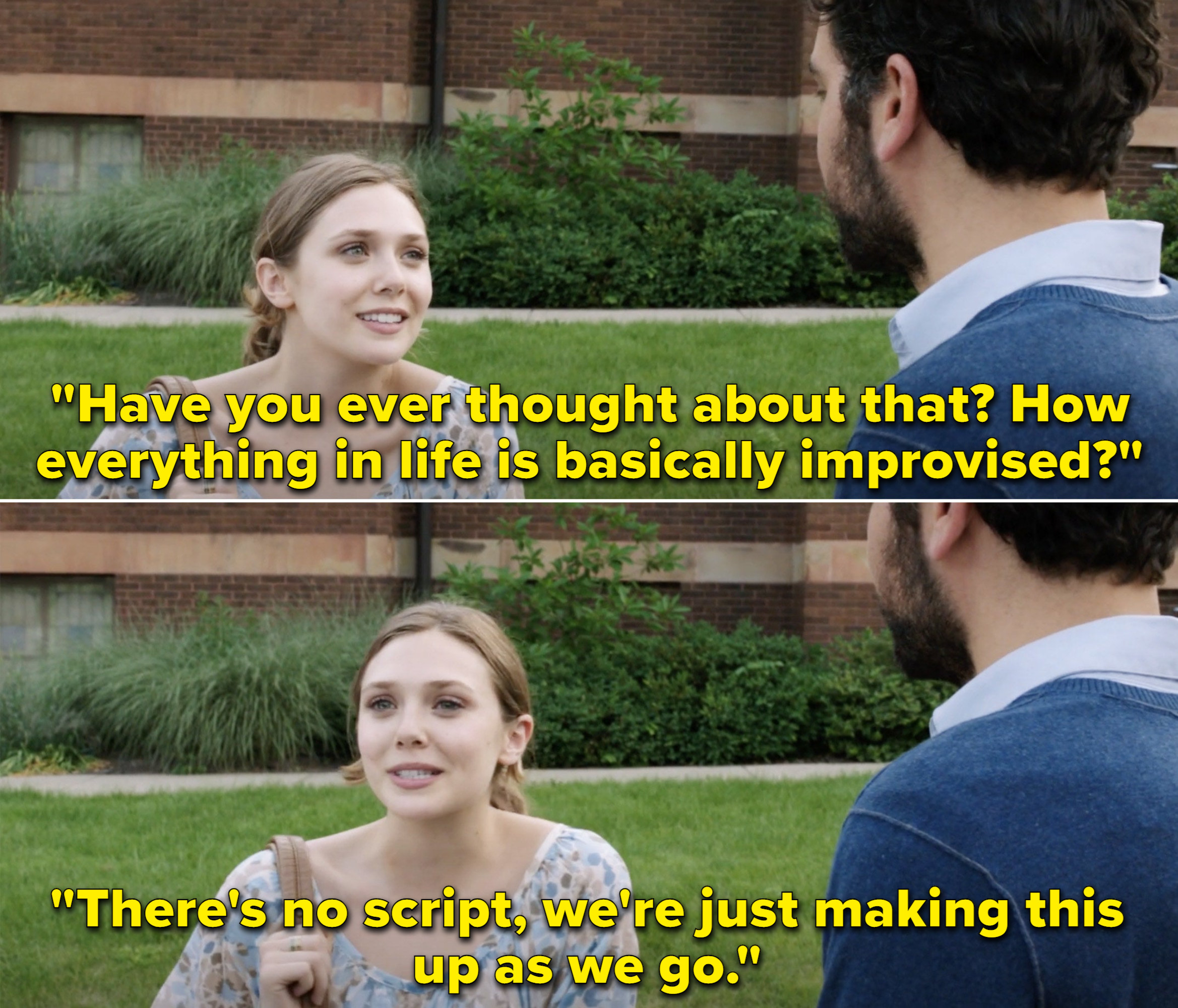 """Zibby saying, """"How everything in life is basically improvised? There's no script, we're just making this up as we go"""