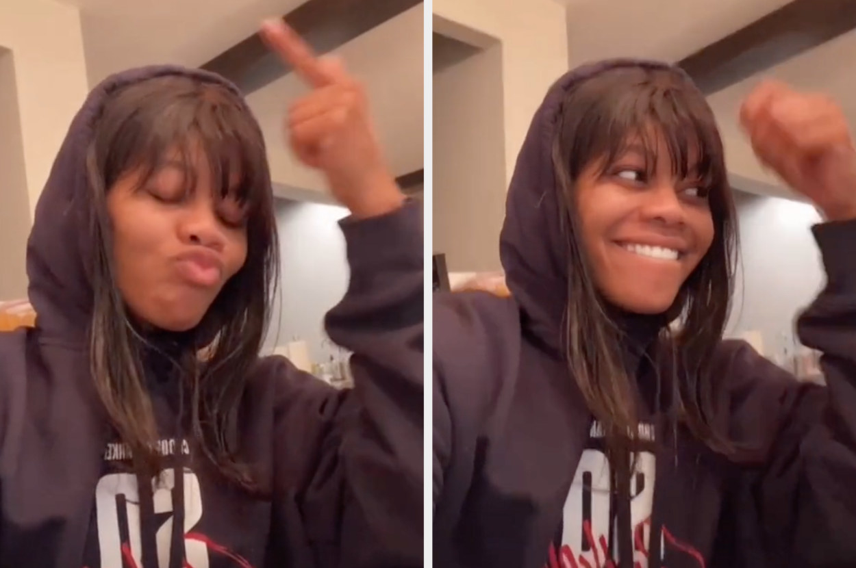 Gabby Douglas laughs along in her TikTok video as she reacts to her dance
