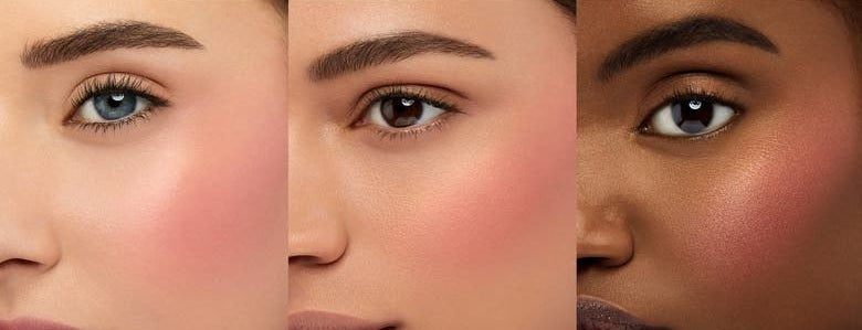 Three models with different skin tones wear the blush in Orgasm X