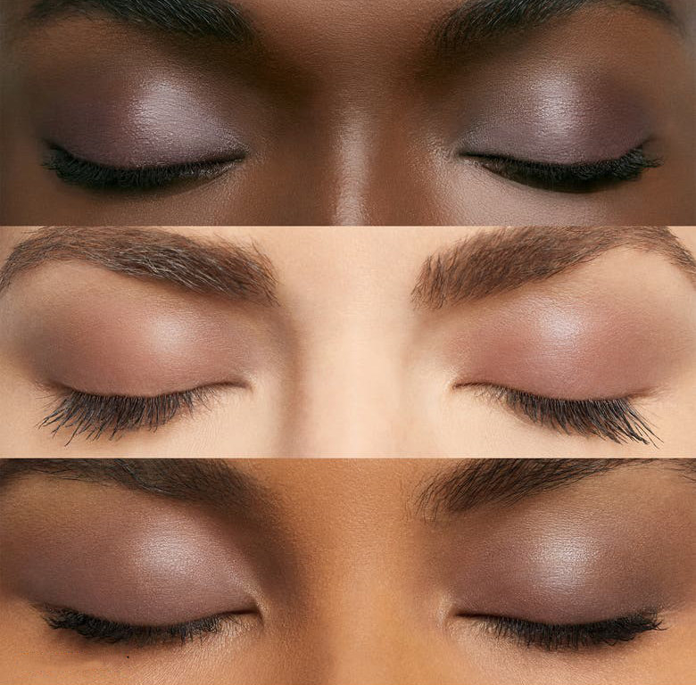 Three models with different skin tones wear the eyeshadow in Dusty Mauve