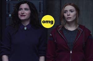 "Kathryn Hahn as Aagtha Harkness and Elizabeth Olsen as Wanda Maximoff in the show ""WandaVision."""