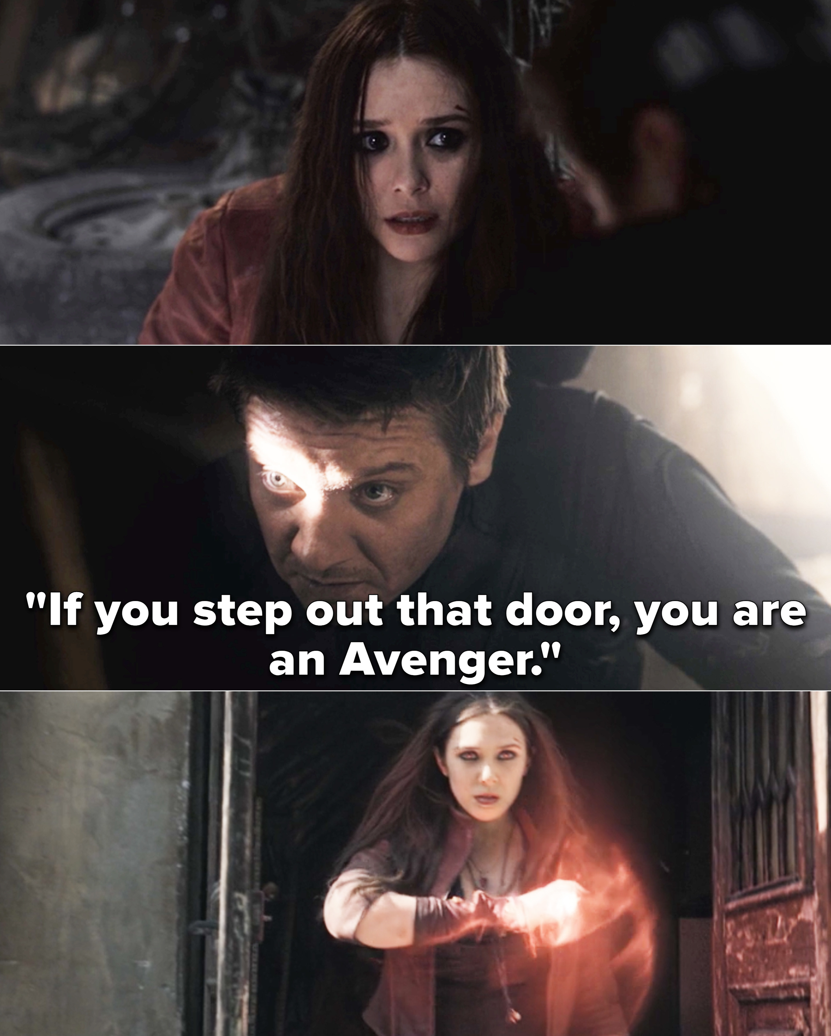 """Clint telling Wanda, """"If you step out that door, you are an Avenger"""""""
