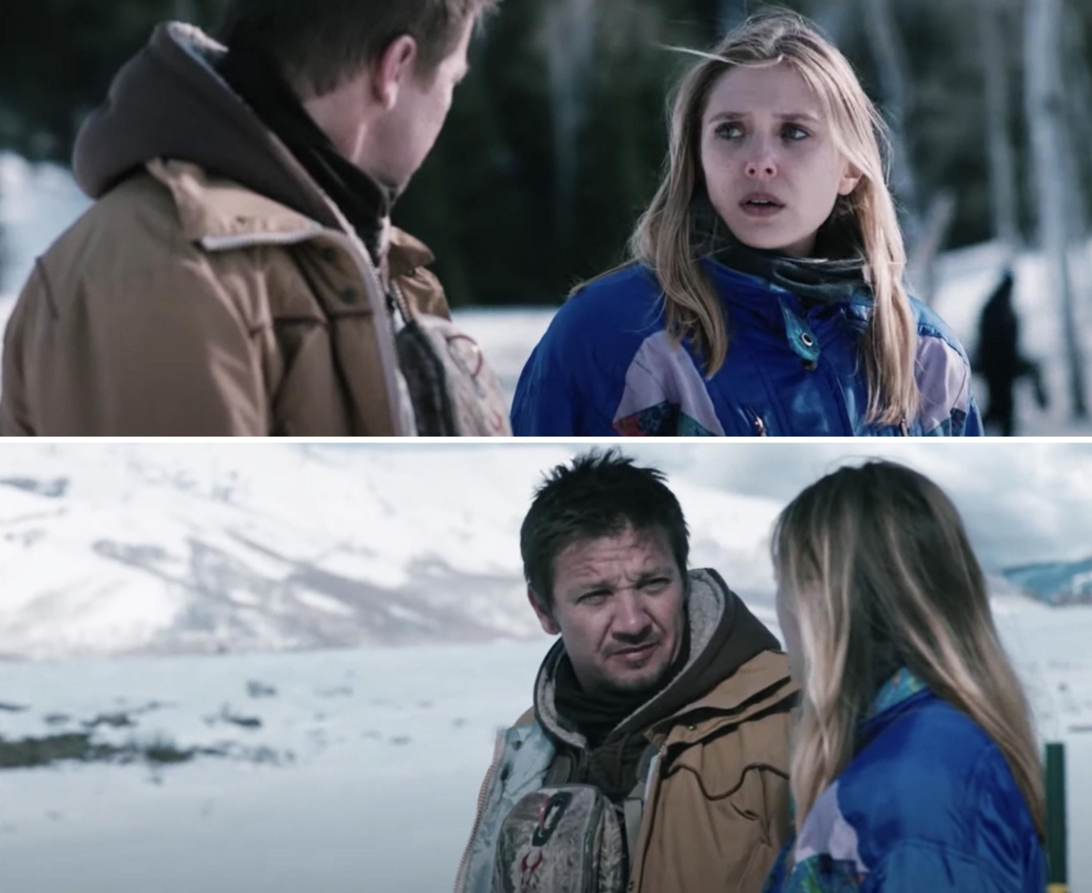 Jeremy Renner and Elizabeth Olsen in Wind River