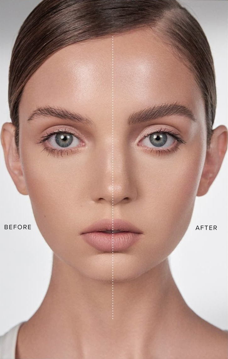 A comparison of a model's face before and after applying the brow pencil