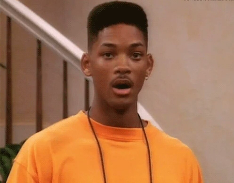 Will Smith from the Fresh Prince looking shocked