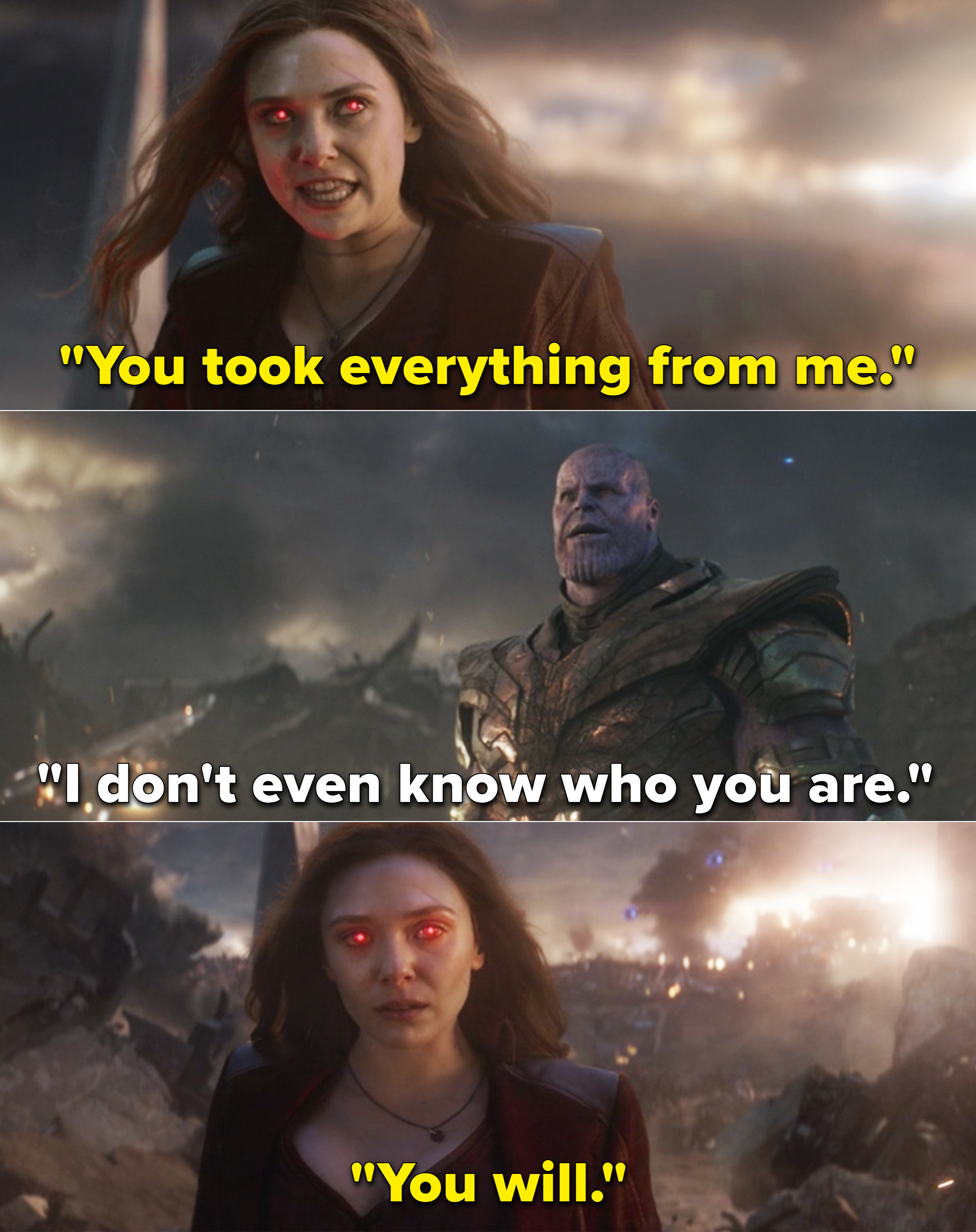 """Wanda telling Thanos, """"You took everything from me"""" and Thanos saying he doesn't even know who she is"""