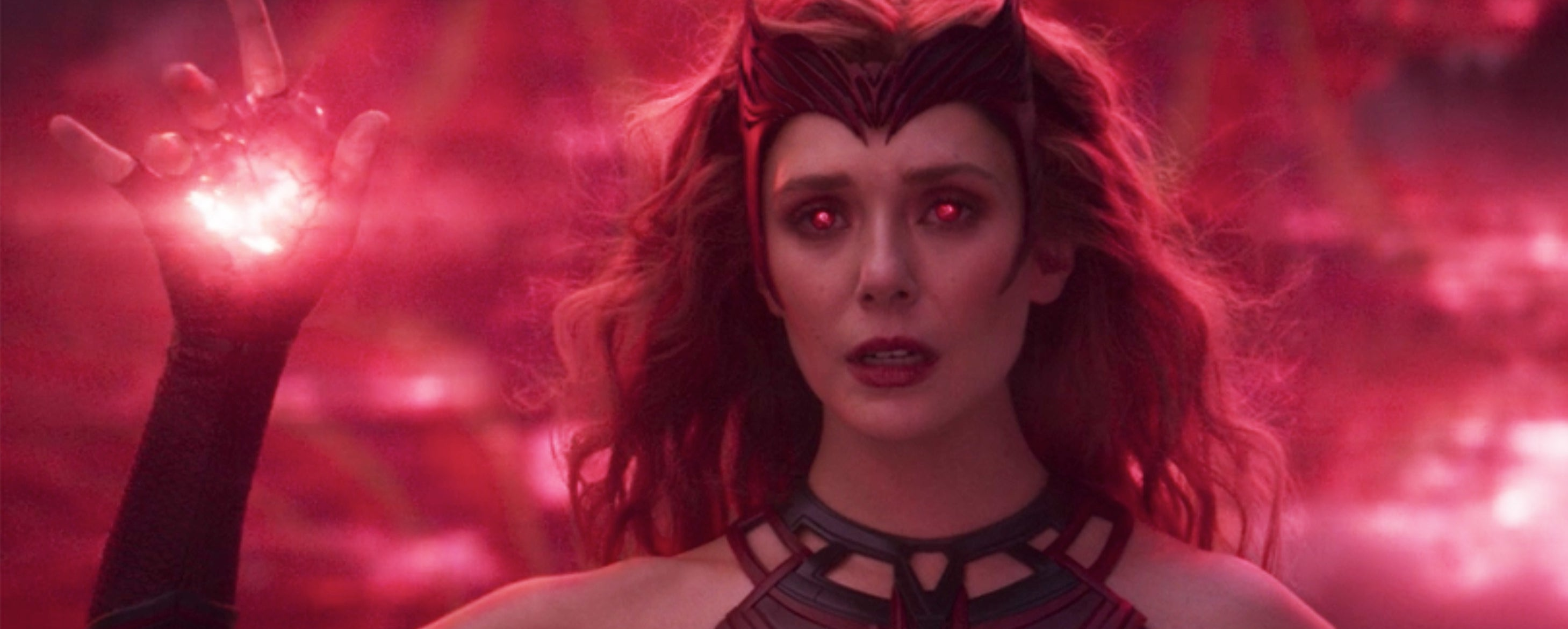 Wanda in her Scarlet Witch outfit