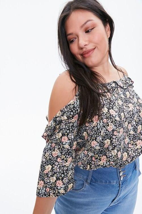 Model wearing the crop top