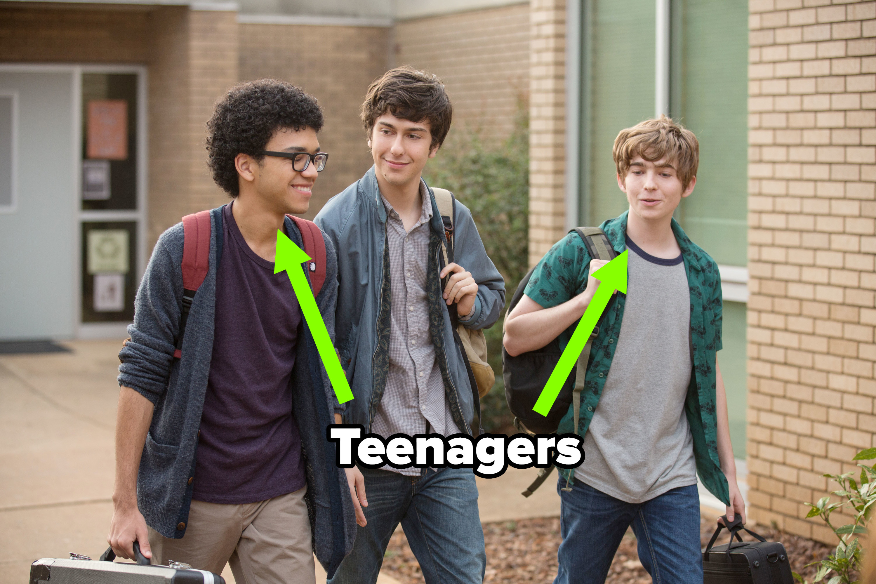 Nat Wolff walking with Austin and Justice in the movie with the latter 2 labeled teenagers