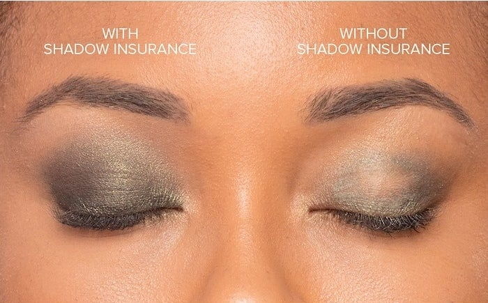Model with one eyelid fully covered in shadow thanks to the primer, and one eyelid with blotchy eye shadow without the primer